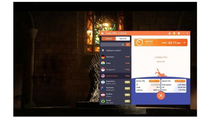 A screenshot of Turbo VPN unblocking HBO Max.